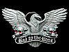 KH03107 COOL VINTAGE 1991 **BAD TO THE BONE** SKULLS & EAGLE PEWTER BELT BUCKLE