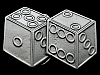 KH03124 *NOS* VINTAGE 1990 CUT-OUT **PAIR OF DICE** GAMBLING PEWTER BELT BUCKLE
