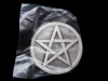 KH07169 *NOS* VERY COOL **PENTAGRAM** ROUND PEWTER BELT BUCKLE