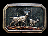 KH09107 GREAT VINTAGE 1976 **BUCK & DOE DEER IN FOREST** BRASSTONE BELT BUCKLE
