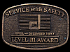 HL03161 VINTAGE 1987 **SERVICE WITH SAFETY AWARD** BRASS BUCKLE