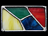 KH15121 COOL VINTAGE 1970s HIPPIE STYLE COLORED STAINED GLASS ARTWORK BUCKLE