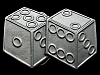 KJ09131 VERY COOL VINTAGE 1990 CUT-OUT **PAIR OF DICE** PEWTER BELT BUCKLE