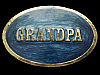 KJ09141 VERY COOL VINTAGE 1982 ***GRANDPA*** LACQUERED BRASSTONE BELT BUCKLE
