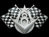 KJ09152 NICE GREAT AMERICAN **RACEWAY CHECKERED FLAGS** NUMBER 8 PEWTER BUCKLE