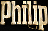 KJ08132 *NOS* VINTAGE 1970s CUT-OUT NAME ***PHILIP*** SOLID BRASS BUCKLE