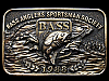 KJ13125 GREAT VINTAGE 1988 **BASS ANGLERS SPORTSMAN SOCIETY** BRASSTONE BUCKLE