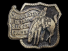 KJ17174 FUNNY VINTAGE 1980 ***COWBOYS STAY IN THE SADDLE LONGER*** BELT BUCKLE