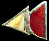 KJ20109 ABSTRACT VINTAGE DATED 1979 ***STAINED GLASS*** TRIANGLE ART BUCKLE