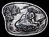KJ23109 VINTAGE 1970s **RIDING SNOWMOBILE** DOWN MOUNTAIN PEWTER BELT BUCKLE
