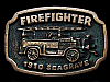 KJ23116 VINTAGE 1978 FIREFIGHTER **1910 SEAGRAVE FIRTRUCK** SOLID BRASS BUCKLE