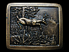 GREAT VINTAGE 1977 DEER RUNNING THROUGH FOREST BELT BUCKLE