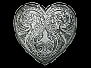 KK13131 VINTAGE 1983 FLORAL DECOR ***HEART*** SHAPED PEWTER BELT BUCKLE