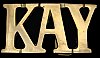 KK08120 *NOS* VINTAGE 1970s CUT-OUT NAME ***KAY*** SOLID BRASS BUCKLE