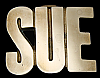 KK08133 *NOS* VINTAGE 1970s CUT-OUT NAME ***SUE*** SOLID BRASS BUCKLE