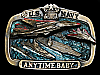 KK19116 VINTAGE 1983 **U.S. NAVY - ANYTIME BABY** FIGHTER JETS & CARRIERS BUCKLE