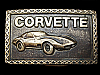 KK27162 COOL VINTAGE 1970s CHEVY ***CORVETTE*** SOLID BRASS CHEVROLET BUCKLE