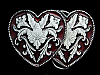 KL09172 *NOS* VINTAGE 1992 WESTERN STYLE FLORAL DECOR*** TWO HEARTS*** BUCKLE