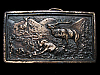 KL11111 VINTAGE 1977 ***BUGLING ELK*** VICTOR OVER FOE IN FIGHT BELT BUCKLE