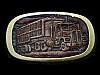 LA03173 VERY COOL VINTAGE 1983 ***18-WHEELER SEMI-TRUCK*** LEATHER BELT BUCKLE