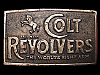 LA19113 VINTAGE 1970s *COLT REVOLVERS* WORLDS RIGHT ARM (BERGAMONT) BELT BUCKLE