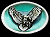 COLORFUL VINTAGE 1988 *AMERICAN BALD EAGLE* OVAL-SHAPED BELT BUCKLE