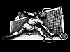 LC09159 VINTAGE 1980 CUT-OUT **TENNIS PLAYERS & NET** SPORTS BELT BUCKLE