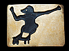 LC23164 *NOS* VINTAGE 1970s **SKATE BOARDER** SILHOUETTE SOLID BRASS BUCKLE
