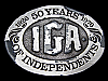 LC25173 VINTAGE 1976 ***INDEPENDENT GROCERS ASSOCIATION*** IGA 50 YEARS BUCKLE