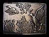 LC27109 VINTAGE 1970s ***DUCKS FLYING OUT OF POND*** BELT BUCKLE