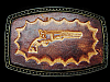 LC27118 VERY COOL VINTAGE 1970s ***OLD WEST PISTOL*** LEATHER BELT BUCKLE