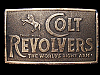 LC27146 COOL VINTAGE 1970s *COLT REVOLVERS THE WORLD'S RIGHT ARM* GUN BELT BUCKLE