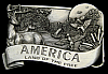 LC20190 *NOS* 1984 VINTAGE ***AMERICA - LAND OF THE FREE*** NATURE SCENE BUCKLE