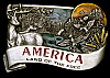 LC20191 *NOS* 1984 VINTAGE ***AMERICA - LAND OF THE FREE*** NATURE SCENE BUCKLE