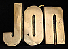 LF20101 *NOS* VINTAGE 1970s/80s CUT-OUT NAME ***JON*** SOLID BRASS BUCKLE