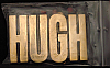 LF20118 *NOS* VINTAGE 1970s/80s CUT-OUT NAME ***HUGH*** SOLID BRASS BUCKLE