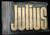 LF20126 *NOS* VINTAGE 1970s/80s CUT-OUT NAME ***JULIUS*** SOLID BRASS BUCKLE