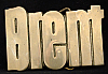 LF20131 *NOS* VINTAGE 1970s/80s CUT-OUT NAME ***BRENT*** SOLID BRASS BUCKLE