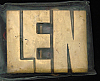 LF20133 *NOS* VINTAGE 1970s/80s CUT-OUT NAME ***LEN*** SOLID BRASS BUCKLE