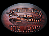 LF11114 VINTAGE 1983 ***THE FIGHTING EDGE - U.S. ARMY*** LEATHER MILITARY BUCKLE