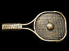 LF19121 VINTAGE 1978 CUT-OUT ***TENNIS RACQUET & BALL*** SOLID BRASS BELT BUCKLE