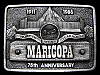 LF23173 VINTAGE 1986 ***MARICOPA*** HOME OF BUCKS STEAKHOUSE BELT BUCKLE