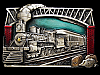 LF27150 VINTAGE 1985 ***THE GOLDEN AGE OF RAIL TRAVEL*** RAILROAD BELT BUCKLE