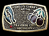 LG29154 VINTAGE 1982 **WORLD'S CHERRY CAPITAL - TRAVERSE CITY, MI** BELT BUCKLE