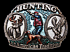 LH01137 VINTAGE 1986 ***HUNTING*** AN AMERICAN TRADITIION BELT BUCKLE