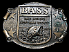 LI01123 GREAT VINTAGE 1970s *BASS ANGLERS SPORTSMAN SOCIETY* FISHING BELT BUCKLE