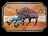 LK03153 VINTAGE 1970s**COWBOY WRANGLING BULL** LEATHER ON  SOLID BRASS BUCKLE