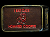 LK15137 **NOS** VINTAGE 1970s *I EAT CATS HOWARD COOPER* HEAVY MACHINERY BUCKLE