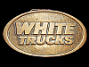 LK27114 **NOS** VINTAGE 1970s ***WHITE TRUCKS*** SOLID BRASS BELT BUCKLE