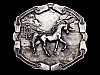 LL13135 VINTAGE 1976 ARABIAN HORSE ON BEACH BELT BUCKLE